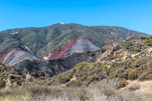Southern California Mountain Trails Near Burn Area From Forest Fire And Red Fire Retardant