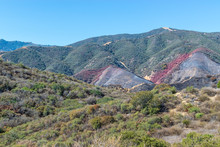 Dry Brush In The Hills Of California Mountains With Burned Hillsides And Red Fire Retardant In The Middle Of Forest
