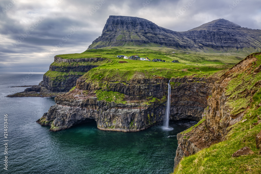 Fototapety, obrazy: Gasadalur village and Beautiful  waterfall,  Vagar, Faroe Islands, Denmark.