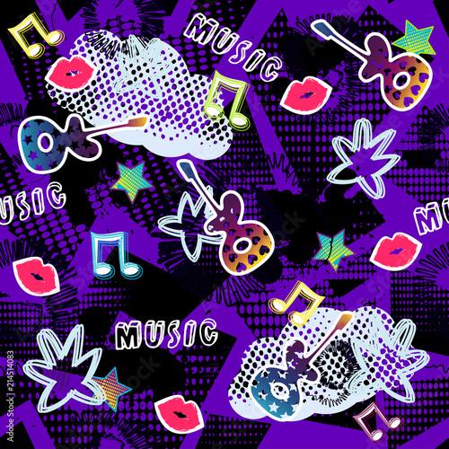 abstrakcjonistyczny-bezszwowy-sporta-wzor-dla-dziewczyn-chlopiec-wektor-kreatywnych-sport-wzor-z-kropek-gitara-usta-gwiazda