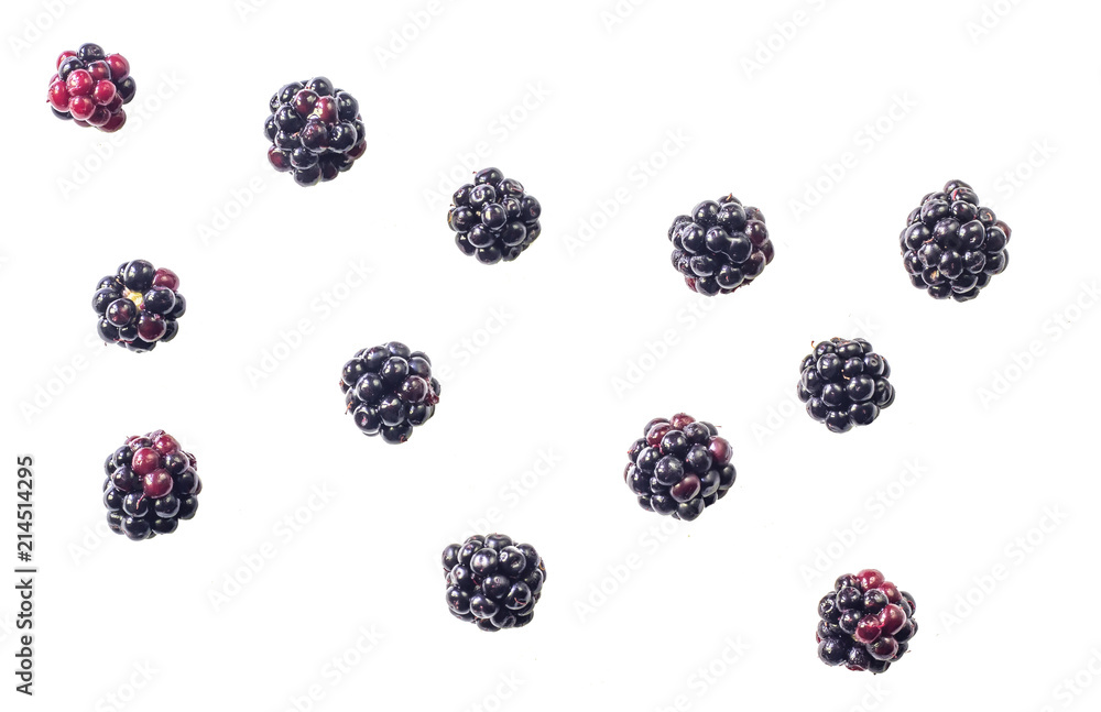 Fototapety, obrazy: Group of tasty ripe blackberry isolated on white background. Top view.