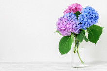 Still Life With A Beautiful Bouquet Of Pink And Blue Hydrangea Flowers. Holiday Or Wedding Background With Copy Space