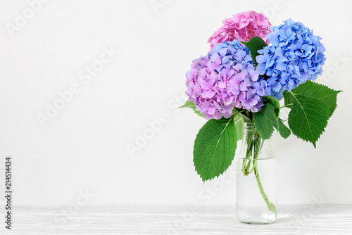 Foto op Plexiglas Hydrangea Still life with a beautiful bouquet of pink and blue hydrangea flowers. holiday or wedding background with copy space