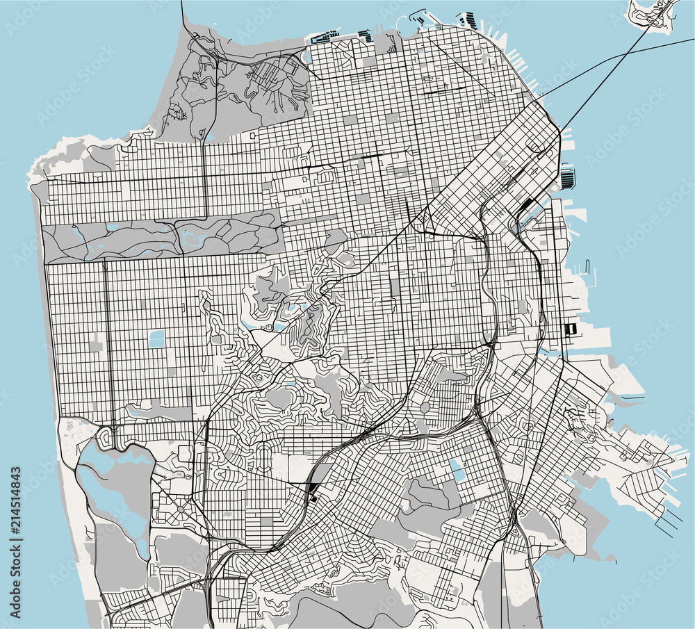 vector map of the city of San Francisco, USA Foto, Poster ...