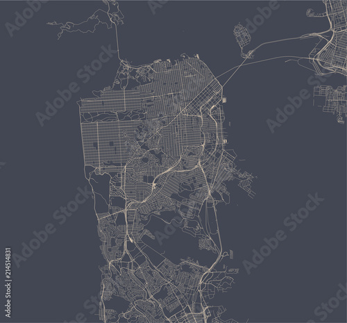Fotografía vector map of the city of San Francisco, USA