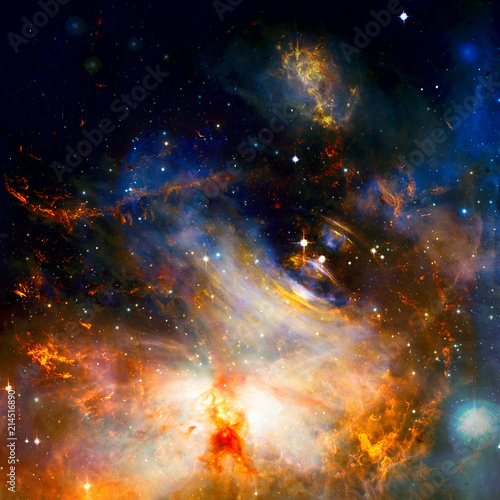 Planets, stars and galaxies in outer space. Elements furnished by NASA