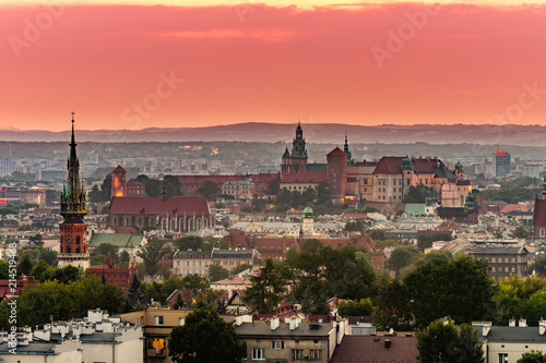 Fototapeta Krakow panorama from Krakus Mound, Wawel castle in the evening obraz