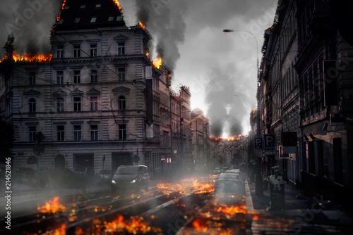Fotografie, Obraz  Destroyed city concept. Digital illustration