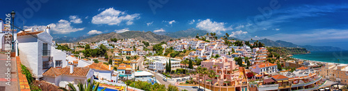 Fotografia  White color houses in Nerja, Malaga Province