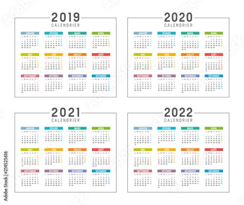 Calendrier Agenda 2019 2020 2021 2022   Buy this stock vector and