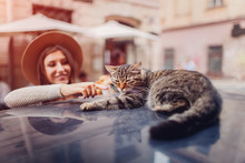 Cat Sleeping On Car Roof On City Street. Young Wooman Awaking Cat. Girl Strokes Pet
