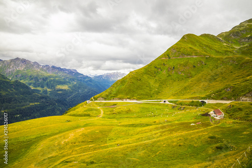 Tuinposter Honing Mountain hill path road panoramic landscape
