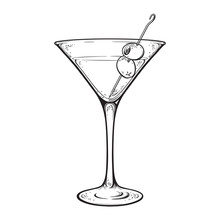 Martini With Olive Alcoholic Cocktail In Glass Isolated On White Background Hand Drawn Vintage Style Line Art Vector Illustration.