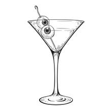 Martini With Eyeballs Cocktail In Glass Halloween Design Hand Drawn Line Art Vector Illustration.