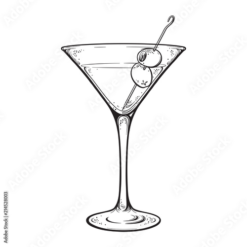 Cuadros en Lienzo  Martini with olive alcoholic cocktail in glass isolated on white background hand drawn vintage style line art vector illustration