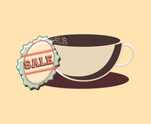 Retro Shopping Coffee Cup Sale Label