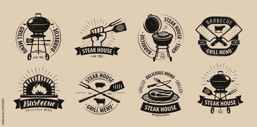Fototapety, obrazy: BBQ, barbecue, grill logo or icons. Labels for the menu of restaurant or cafe. Vector illustration