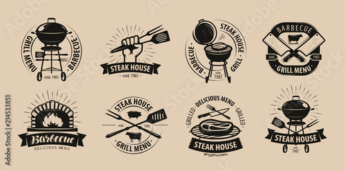 Fotografía  BBQ, barbecue, grill logo or icons