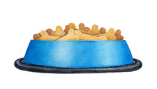 Round Shiny Bowl Filled With Dog Dry Food. Cute Pet Supply, Bone Shaped Crunchy Grains, One Dinner Portion, Colorful Tasty Decoration. Hand Drawn Water Color Painting, Isolated Clipart Element.