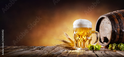 Poster Biere, Cidre Beer Mug With Wheat And Hops In Cellar With Barrel