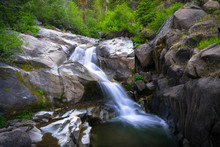 Rocky Canyon Waterfall In Mountain Stream Along Ebbetts Pass, Sierra Nevada - California