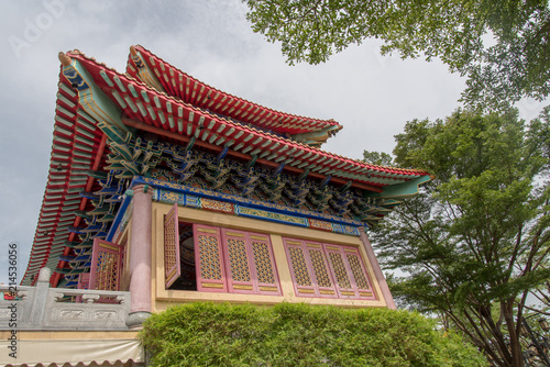 Tuinposter China Nonthaburi, Thailand july 21 2018-Chinese temple The Dragon Temple is a landmark sasot na. White Wednesday-attractions in Thailand plant, Lotus, gold country, abang uncovered.