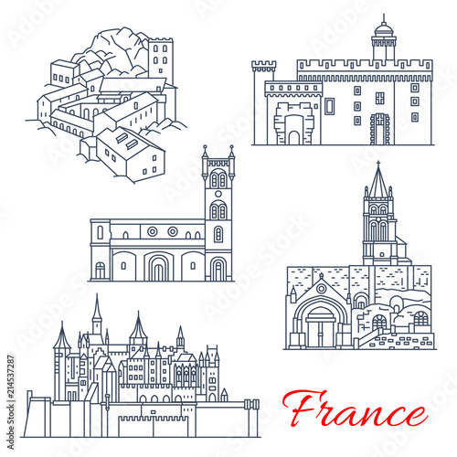 Foto op Canvas Doodle France travel landmarks of Tours in Aquitaine