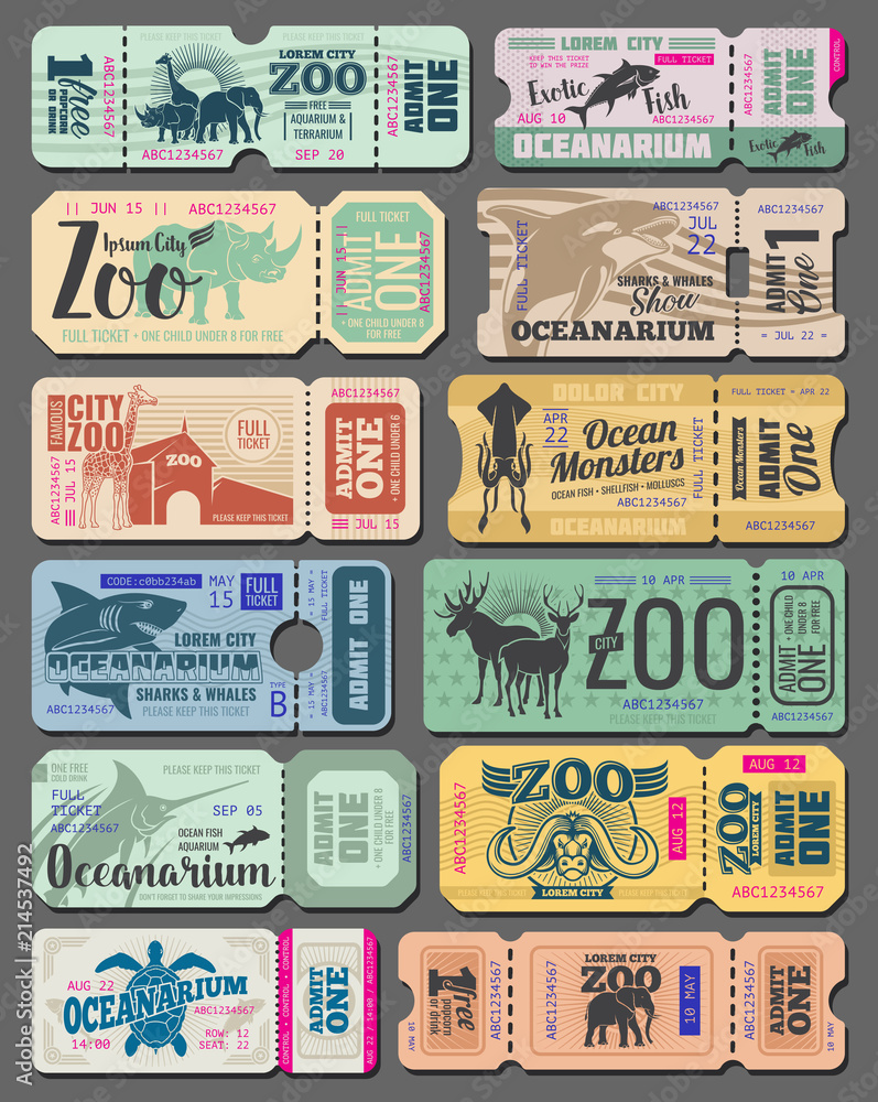 Fototapeta Vector vintage tickets of zoo animals and fish