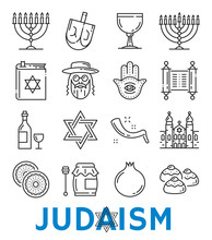 Vector Judaism Religious Symbols Thin Line Icons
