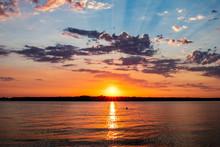 Sunset At Lake In Oklahoma