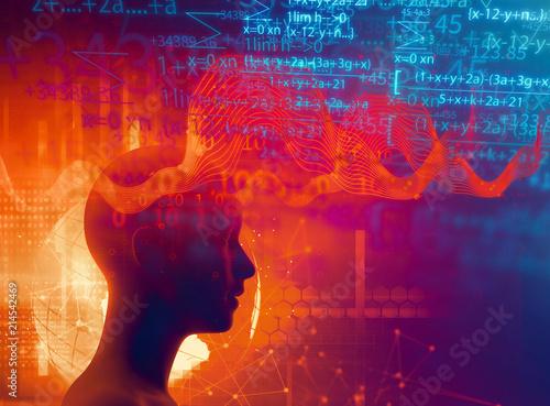 Fototapeta  silhouette of virtual human on brain delta wave form 3d illustration