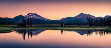 Sparks Lake In Central Oregon Cascade Lakes Highway, A Popular Outdoors Vacation Destination