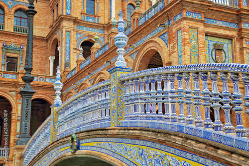 Canvas Print Seville, Spain-October 14, 2017:  Plaza De Espana, Seville, Architectural Detail