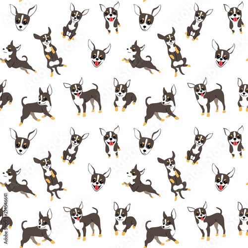 obraz PCV chihuahuai n action,seamless pattern