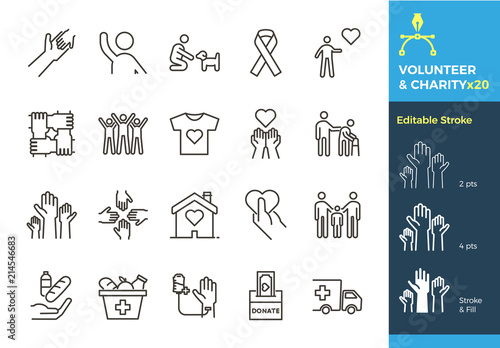 Fotografía Vector thin line icons related with humanitarian causes - volunteering, adoption, donations, charity, non-profit organizations