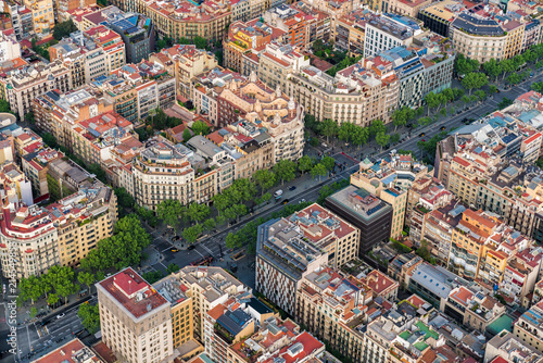 Barcelona aerial view, Eixample residencial famous urban grid, Spain