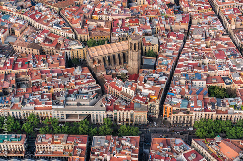 Barcelona Old Town aerial view and famous La Rambla street, Spain