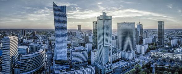 Panel Szklany Warszawa Warsaw city with modern skyscraper at sunset-Panorama