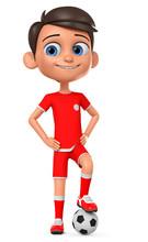Boy In Red Uniform With A Socc...