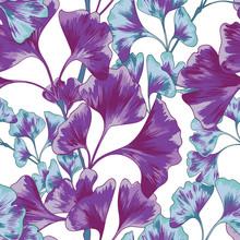 Purple Ginkgo Seamless Vector Pattern
