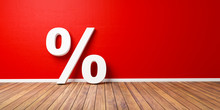 White Percent Sign On Brown Wooden Floor Against Red Wall - Sale Concept - 3D Illustration