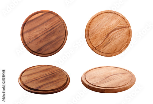 Vászonkép Pizza board isolated on white. Top view mock up