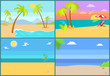 Set Tropical Islands Vector Palm Trees Endless Sea