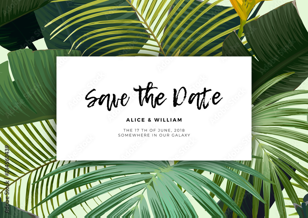 Fototapeta Floral wedding invitation with guzmania flowers, monstera and royal palm leaves. Exotic hawaiian vector background.
