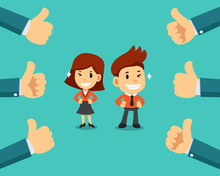 Vector Cartoon Happy Businessman And Businesswoman With Many Thumbs Up Hands For Design.