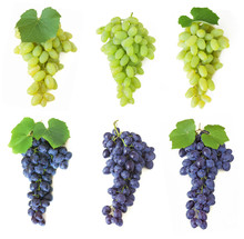 Grapes Set Isolated On White B...