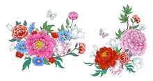 2 Bouquets With Flowers In Chinese Style.