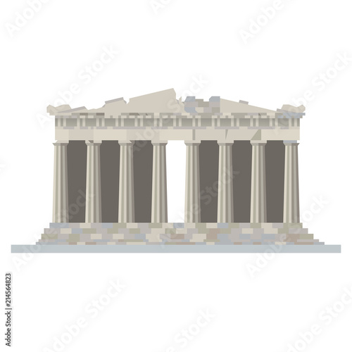 Poster  Parthenon temple at Acropolis, Athens, Greece, flat design vector illustration