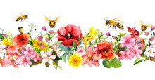 Bees In Meadow Flowers, Summer Grasses, Wild Leaves. Repeating Floral Horizontal Border. Watercolor