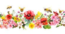 Bees In Meadow Flowers, Summer...